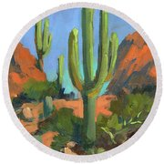 Desert Morning Saguaro Round Beach Towel