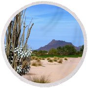 Desert Mountain Round Beach Towel by Mike Ste Marie