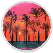 Desert Palm Trees At Sunset Round Beach Towel by Asha Carolyn Young