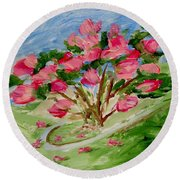 Desert Rose Abstract Round Beach Towel