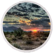 Desert Sunrise  Round Beach Towel