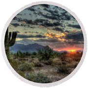 Desert Sunrise  Round Beach Towel by Saija  Lehtonen