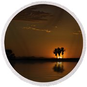 Round Beach Towel featuring the photograph Desert Sunset by Lynn Geoffroy