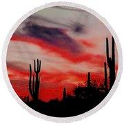 Desert Sunset Northern Lights Version 3 Round Beach Towel by Joseph Baril