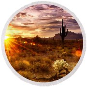 Desert Sunshine  Round Beach Towel