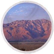 Desert With A Mountain Range Round Beach Towel