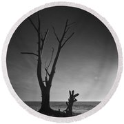 Deserted Beach Sunset Round Beach Towel