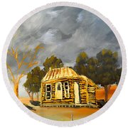 Deserted Castlemain Farmhouse Round Beach Towel