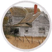 Round Beach Towel featuring the photograph Deserted House by Mary Carol Story