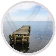 Deserted Jetty Round Beach Towel