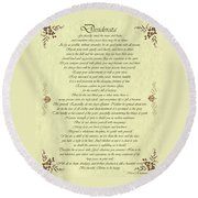 Desiderata Gold Bond Scrolled Round Beach Towel