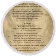 Desiderata - Scrubbed Metal Round Beach Towel