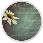 Desiderata With Daisy Round Beach Towel