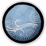 Designer Light Blue Baseball Square Round Beach Towel by Andee Design