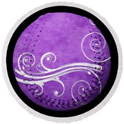 Round Beach Towel featuring the photograph Designer Purple Baseball Square by Andee Design