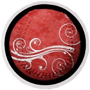 Round Beach Towel featuring the photograph Designer Red Baseball Square by Andee Design