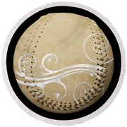 Round Beach Towel featuring the photograph Designer Tan Baseball Square by Andee Design