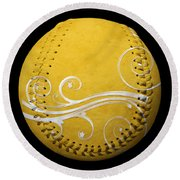 Round Beach Towel featuring the photograph Designer Yellow Baseball Square by Andee Design