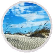 Round Beach Towel featuring the photograph Designs In Sand And Clouds by Gary Slawsky