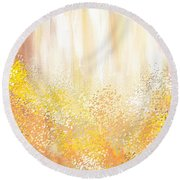 Desirous Round Beach Towel by Lourry Legarde
