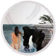 Destinos Round Beach Towel by Lazaro Hurtado