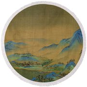 Round Beach Towel featuring the painting Detail Of A Thousand Li Of River by Celestial Images