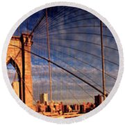 Details Of The Brooklyn Bridge, New Round Beach Towel