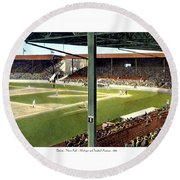 Detroit - Navin Field - Detroit Tigers - Michigan And Trumbull Avenues - 1914 Round Beach Towel