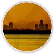 Detroit At Dawn Round Beach Towel