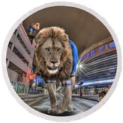 Detroit Lions At Ford Field Round Beach Towel by Nicholas  Grunas