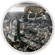 Detroit Round Beach Towel by Nicholas  Grunas