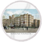 Detroit - Providence Hospital - West Grand Boulevard - 1926 Round Beach Towel