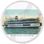 Detroit - Ss Sainte Claire - Boblo - Browning Steamship - 1938 Round Beach Towel