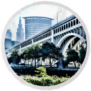 Round Beach Towel featuring the photograph Detroit-superior Bridge - Cleveland Ohio - 1 by Mark Madere