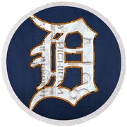 Detroit Tigers Baseball Old English D Logo License Plate Art Round Beach Towel