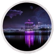 Round Beach Towel featuring the photograph Detroit Worlds by Nicholas  Grunas