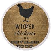 Deviled Eggs Round Beach Towel