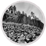 Devils Postpile National Monument Round Beach Towel