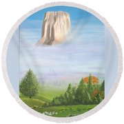 Round Beach Towel featuring the painting Devil's Tower  by Phyllis Kaltenbach