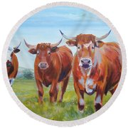 Devon Cattle Round Beach Towel