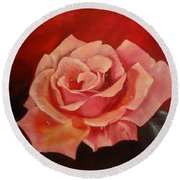 Round Beach Towel featuring the painting Dew Drops On Pink Rose by Jenny Lee