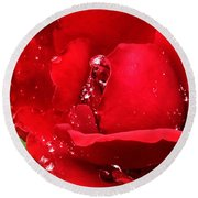 Dew Drops On Red Round Beach Towel