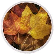 Dew On Autumn Leaves Round Beach Towel