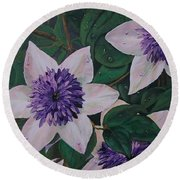 Round Beach Towel featuring the painting Clematis After The Rain by Sharon Duguay