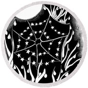 Round Beach Towel featuring the digital art Dewdrop Stars by Carol Jacobs