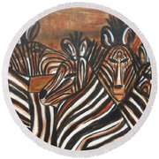Round Beach Towel featuring the painting Zebra Bar Crowd by Diane Pape