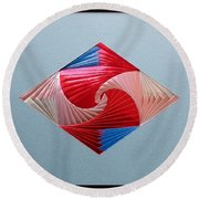 Round Beach Towel featuring the mixed media Diamond Design by Ron Davidson
