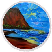 Diamond Head Blue Round Beach Towel
