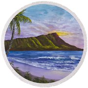 Round Beach Towel featuring the painting Diamond Head by Darice Machel McGuire