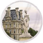 Diana Huntress Tuileries Garden Round Beach Towel by Victoria Harrington